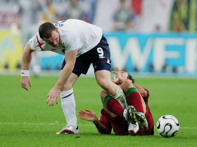 Wayne Rooney saw red in the 2006 World Cup for this stamp on Ricardo Carvalho