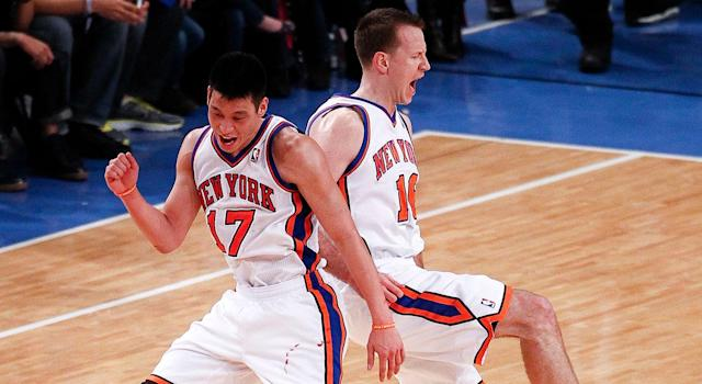 Steve Novak and Jeremy Lin would reunite in New York shortly after their time together in Reno. (Photo by Jeff Zelevansky/Getty Images)