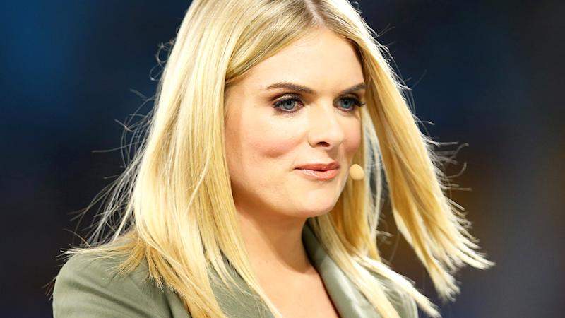 Erin Molan, pictured here in action for Channel Nine before an NRL game.