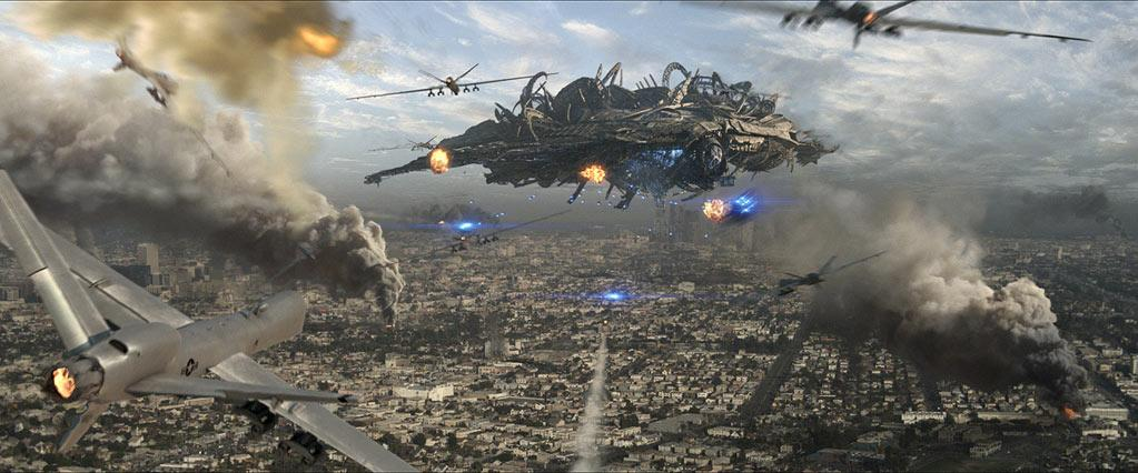 """<b>Movie</b>: """"<a href=""""http://movies.yahoo.com/movie/1810147516/info"""">Skyline</a>"""" (2010)   <b>Catastrophe</b>: Alien invasion.   <b>Emmerich Scale L.A. Destruction</b>: 7.5 -- Computer-generated alien robots bombard Los Angeles, resulting in lots of computer-generated wreckage.   <b>End Resul</b>t: Alien robots dazzle humanity with a blue light and then suck out their brains faster than you can say """"reality TV."""""""