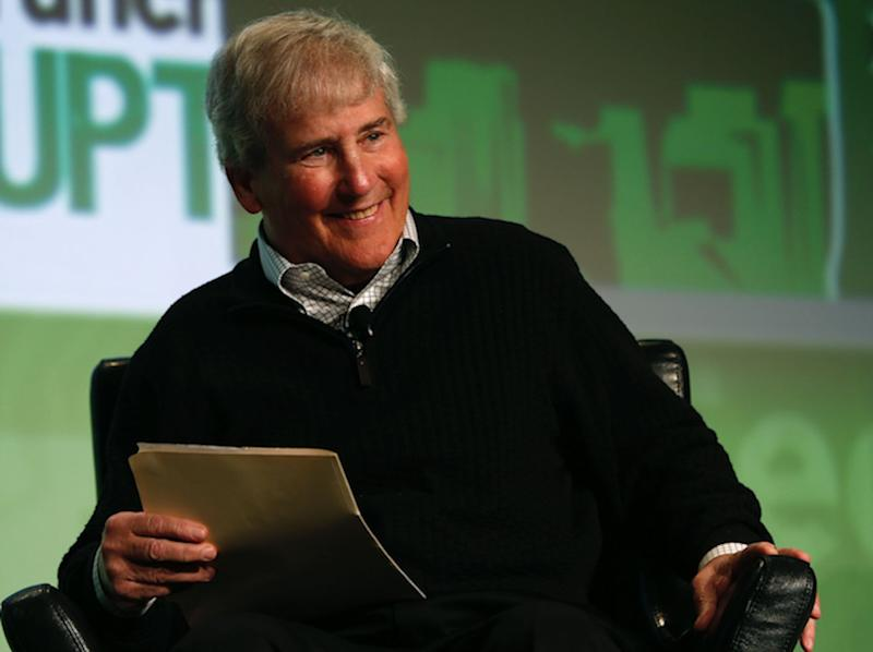 Bill Campbell, then chairman of the board and former chief executive of Intuit Inc., smiles as he moderates a fireside chat with Ben Horowitz of Andreessen Horowitz during day one of TechCrunch Disrupt SF 2012 event at the San Francisco Design Center Concourse in San Francisco, California September 10, 2012.