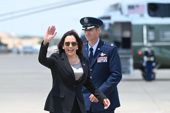 Vice President Kamala Harris boards Air Force Two to fly to Guatemala and Mexico on June 6, 2021, at Andrews Air Force Base in Maryland.
