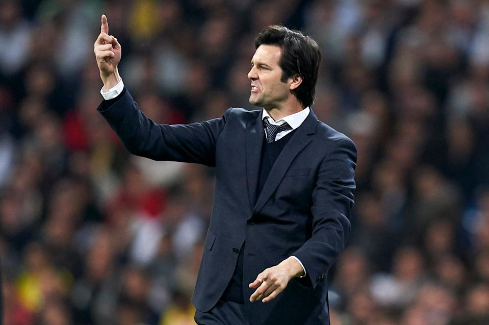 MADRID, SPAIN - FEBRUARY 27: Santiago Solari, Manager of Real Madrid reacts during the Copa del Rey Semi Final second leg match between Real Madrid and FC Barcelona at Santiago Bernabeu on February 27, 2019 in Madrid, Spain. (Photo by Quality Sport Images/Getty Images)