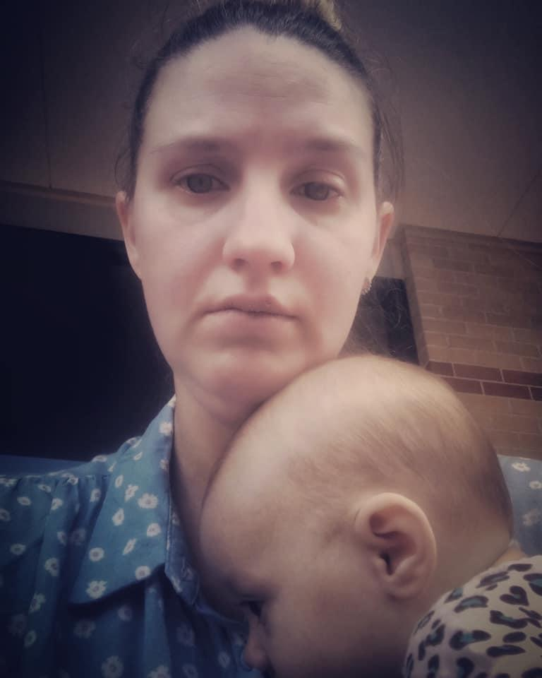 Sydney mum of four Stephanie Brisbane, 32, with four-month-old baby Dakota. 'The Struggling Mum' blogged about her meltdown in Centrelink this week.
