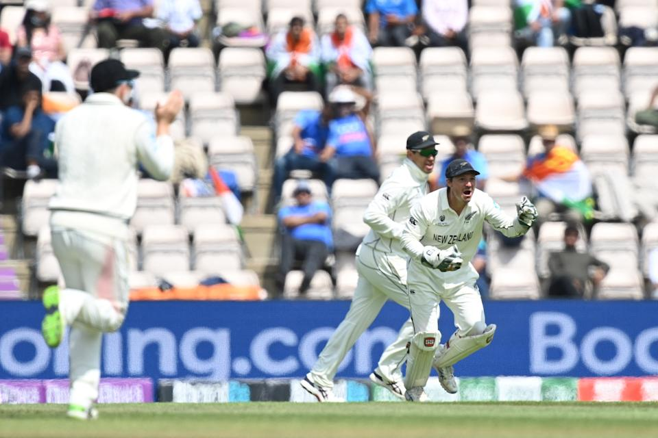 New Zealand's BJ Watling celebrates the wicket of India's Ravichandran Ashwin on the final day of the ICC World Test Championship Final between New Zealand and India at the Ageas Bowl in Southampton, southwest England on June 23, 2021. - RESTRICTED TO EDITORIAL USE (Photo by Glyn KIRK / AFP) / RESTRICTED TO EDITORIAL USE (Photo by GLYN KIRK/AFP via Getty Images)