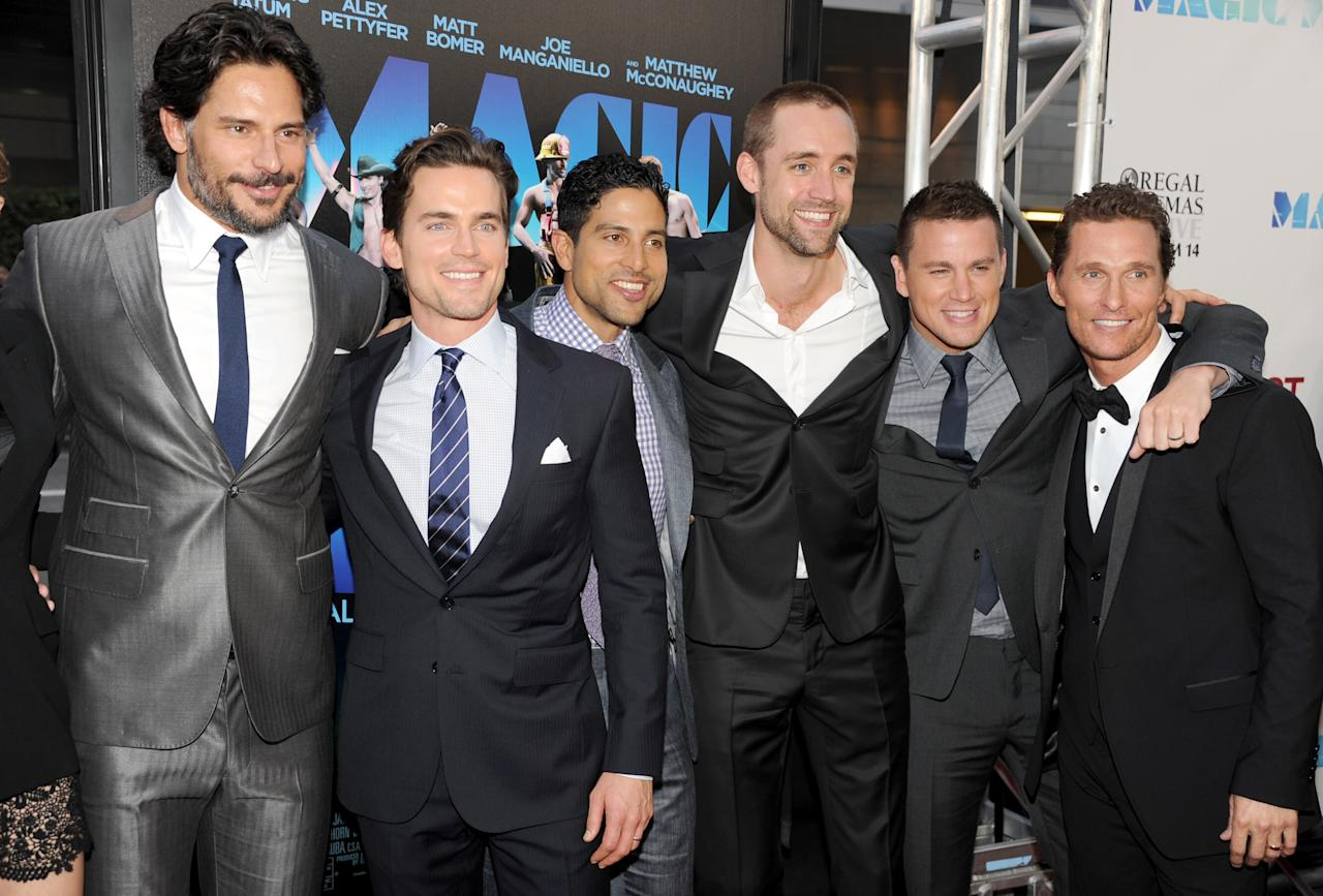 """LOS ANGELES, CA - JUNE 24:  (L-R) Actors Joe Manganiello, Matt Bomer, Adam Rodriguez, writer/producer Reid Carolin, actors Channing Tatum, and Matthew McConaughey arrive at the premiere of Warner Bros. Pictures' """"Magic Mike"""" during the 2012 Los Angeles Film Festival at Regal Cinemas L.A. Live on June 24, 2012 in Los Angeles, California.  (Photo by Kevin Winter/Getty Images)"""