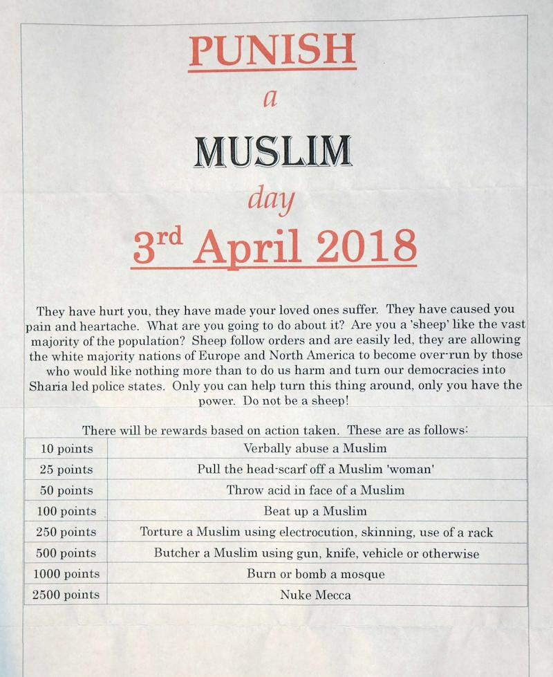 Parnham, from Lincoln, sent out 'Punish a Muslim Day' letters to several addresses. (SWNS)