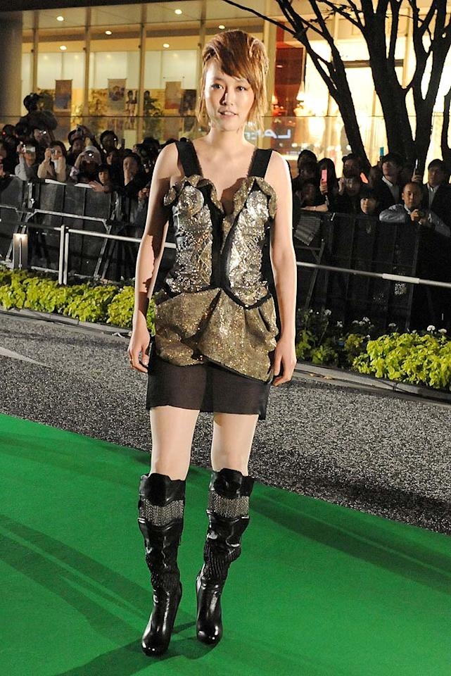 "Is Rinko Kikuchi dressed for a night of combat, a night at the club, or a night of embarrassment? Jun Sato/<a href=""http://www.wireimage.com"" target=""new"">WireImage.com</a> - October 17, 2009"