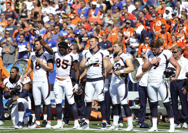 One parish in Louisiana has a rule that prevents high school athletes from taking a knee during the anthem like the Denver Broncos' Virgil Green did on Sunday before an NFL game. (AP)