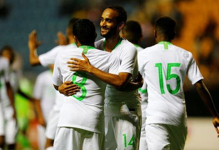 Soccer Football - International Friendly - Saudi Arabia v Algeria - Estadio Ramon de Carranza, Cadiz, Spain - May 9, 2018 Saudi Arabia's Yahya Al-Shehri celebrates scoring their second goal with team mates REUTERS/Marcelo Del Pozo