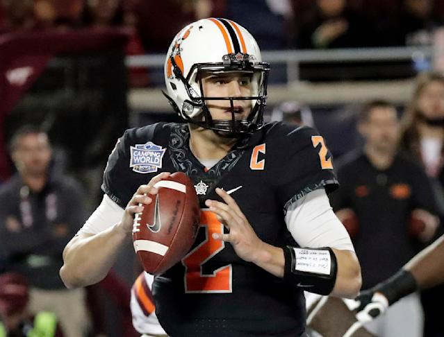 Oklahoma State quarterback Mason Rudolph was drafted by the Steelers in the third round. (AP)