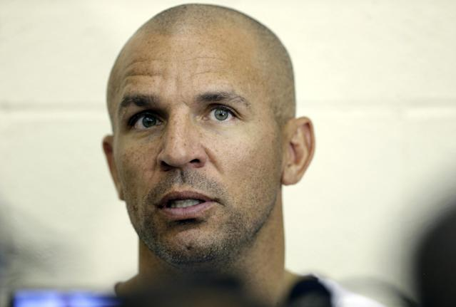 Brooklyn Nets coach Jason Kidd speaks with the media at NBA basketball training camp at Duke University in Durham, N.C., Wednesday, Oct. 2, 2013. (AP Photo/Gerry Broome)