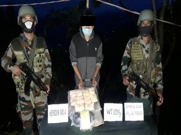 The Assam Rifles apprehended a man and seized 119 grams of heroin.