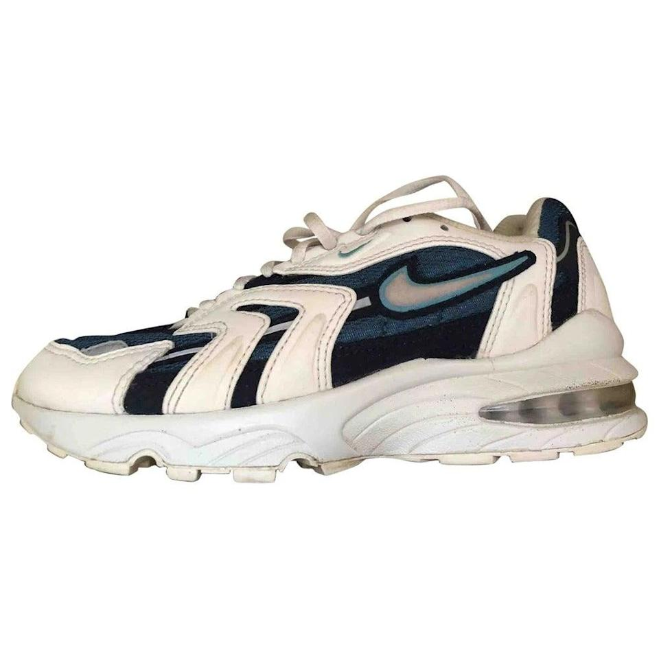 "<br><br><strong>Nike</strong> Sole x Air Max 95, $, available at <a href=""https://www.vestiairecollective.com/women-shoes/trainers/nike/white-leather-nike-trainers-10167262.shtml"" rel=""nofollow noopener"" target=""_blank"" data-ylk=""slk:Vestiaire Collective"" class=""link rapid-noclick-resp"">Vestiaire Collective</a>"
