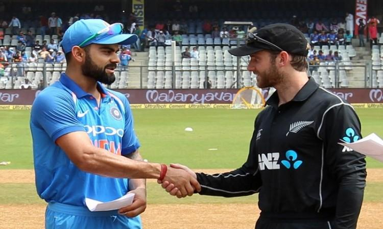 """<p><strong>Mumbai, Oct 22 (Cricketnmore)</strong> India won the toss and opted to bat against New Zealand in the first of three-match One-Day International (ODI) series at the Wankhede Stadium here on Sunday.</p>  <p>India have included batsman Dinesh Karthik in the playing XI. The visitors will bank on experienced pacers Tim Southee and Trent Boult.</p>  <p><a rel=""""nofollow"""" href=""""https://www.cricketnmore.com/cricket-livescore/full-scorecard/2322/1st-odi-india-v-new-zealand-1"""">India vs New Zealand, 1st ODI Live Score</a></p>  <p><strong>Venue: </strong>Wankhede Stadium, Mumbai</p>  <p><strong>Toss:</strong> India won the toss and elected to bat first.</p>  <p><strong>Playing XI:</strong></p>  <p><strong>India:</strong> Shikhar Dhawan, Rohit Sharma, Virat Kohli (captain), Dinesh Karthik, Kedar Jadhav, M.S. Dhoni (wicket-keeper), Hardik Pandya, Kuldeep Yadav, Bhuvneshwar Kumar, Jasprit Bumrah, Yuzvendra Chahal</p>  <p><strong>New Zealand:</strong> Martin Guptill, Colin Munro, Kane Williamson (captain), Ross Taylor, Tom Latham (wicket-keeper), Henry Nicholls, Colin de Grandhomme, Mitchell Santner, Adam Milne, Tim Southee, Trent Boult.</p>"""