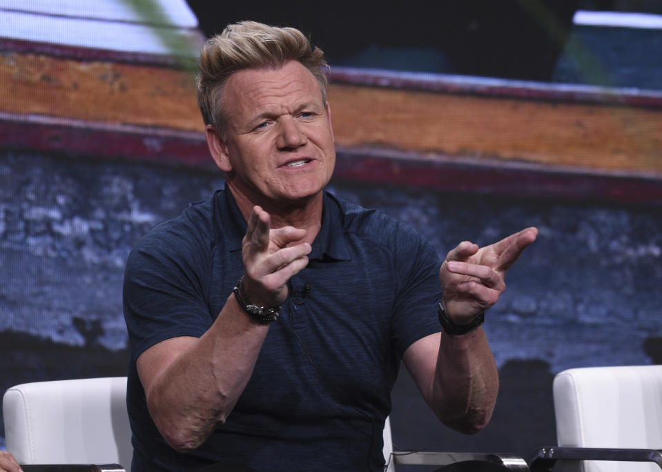"""Chef Gordon Ramsay participates in National Geographic's """"Gordon Ramsay: Uncharted"""" panel at the Television Critics Association Summer Press Tour on Tuesday, July 23, 2019, in Beverly Hills, Calif. (Photo by Chris Pizzello/Invision/AP)"""
