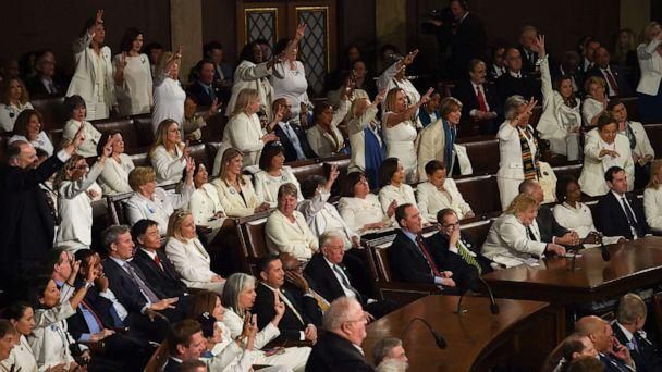 PHOTO: Female members of Congress dressed in white pose for a photo ahead of the State of the Union address in the chamber of the U.S. House of Representatives on Feb. 04, 2020 in Washington, DC. (Drew Angerer/Getty Images)