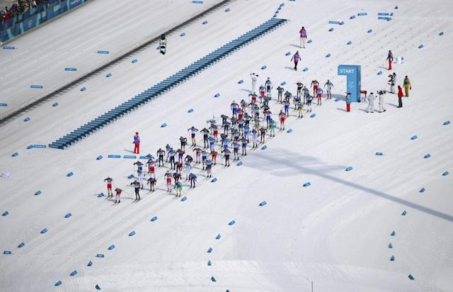 """Cross-Country Skiing - Pyeongchang 2018 Winter Olympics - Men's 50km Mass Start Classic - Alpensia Cross-Country Skiing Centre - Pyeongchang, South Korea - February 24, 2018 - Competitors at the start. REUTERS/Carlos Barria SEARCH """"OLYMPICS BEST"""" FOR ALL PICTURES. TPX IMAGES OF THE DAY."""