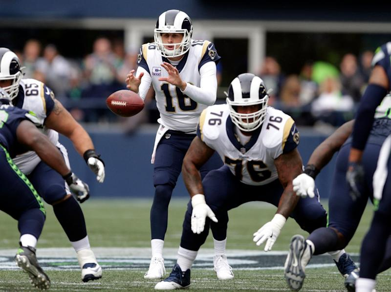 Guard Rodger Saffold (76) will move from the Rams to Titans this offseason. (AP)