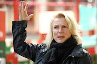 English screenwriter, comedian and actor, Jennifer Saunders speaks during an interview following a demonstration outside of the Gielgud Theatre in London on October 5, 2020, to highlight the impact the COVID-19 pandemic is having on the theatre industry. - A national shutdown was imposed in Britain in late March, and whilst it has eased for most industries, the culture sector, which includes theatres and live music venues, remain closed. (Photo by Daniel LEAL-OLIVAS / AFP) (Photo by DANIEL LEAL-OLIVAS/AFP via Getty Images)