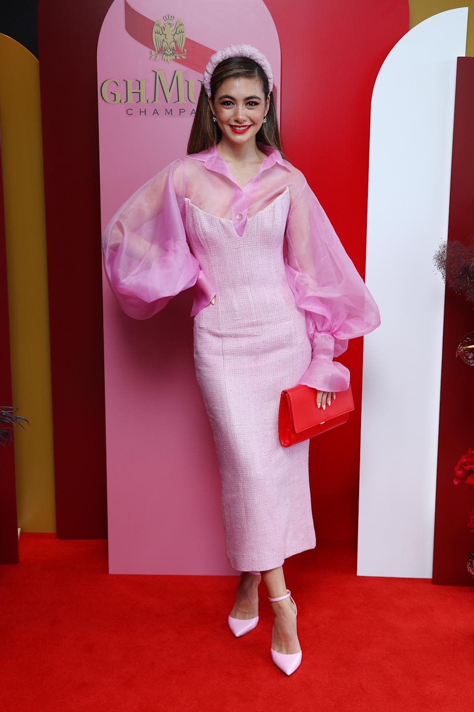 Francesca Hung attends the G.H. Mumm Melbourne Cup Carnival celebrations on November 03, 2020 in Sydney, Australia.