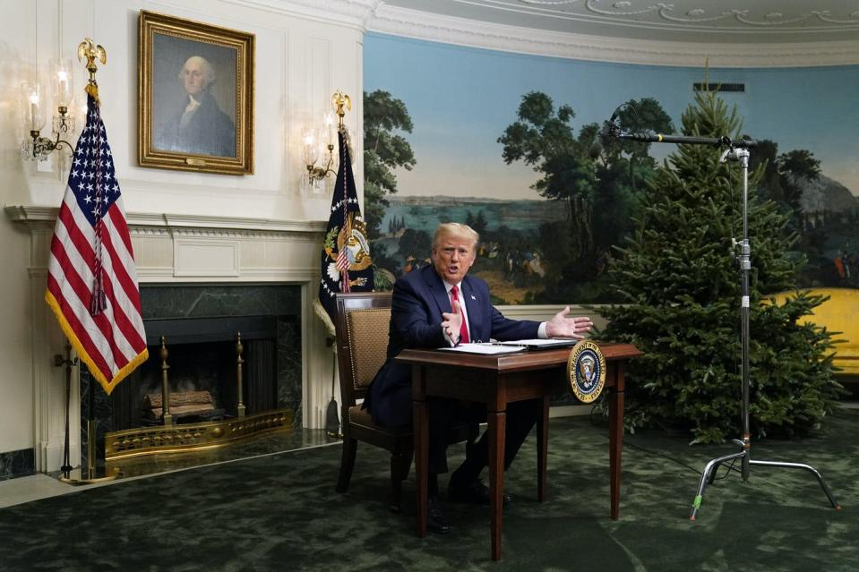 "<span class=""caption"">U.S. President Donald Trump speaks with reporters after participating in a video teleconference call with members of the military on Nov. 26, 2020, at the White House in Washington. He reiterated his baseless claims during the news conference that the Nov. 3 election was 'rigged.'</span> <span class=""attribution""><span class=""source""> (AP Photo/Patrick Semansky)</span></span>"