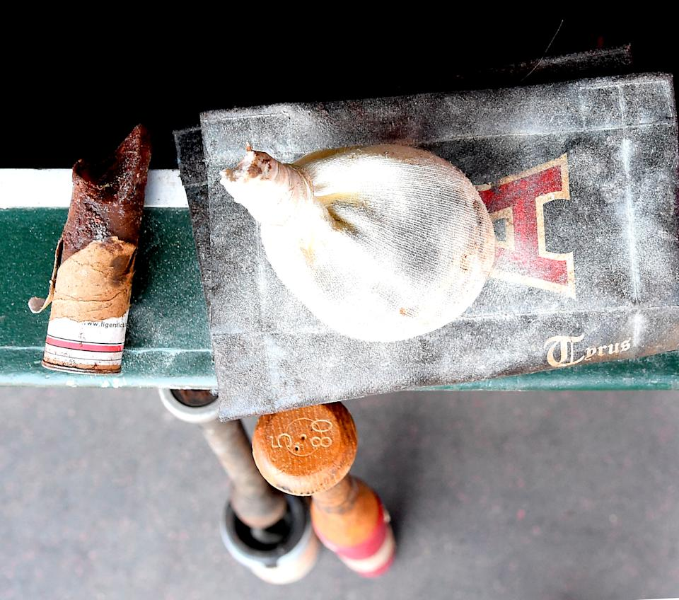 ANAHEIM, CA - AUGUST 12:  The rosin bag and pin tar rag for the Los Angeles Angels of Anaheim sits in the dugout for the game against the Oakland Athletics on August 12, 2018 in Anaheim, California.  (Photo by Jayne Kamin-Oncea/Getty Images)