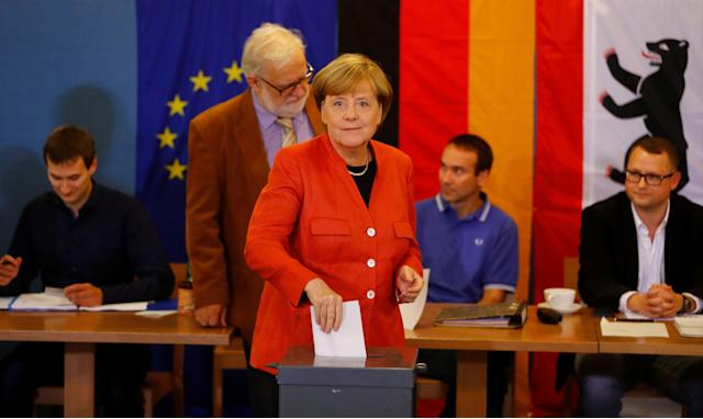 German Chancellor and leader of the Christian Democratic Union CDU Angela Merkelvotes in the generalelection (Bundestagswahl)in Berlin, Germany, Sept. 24, 2017.