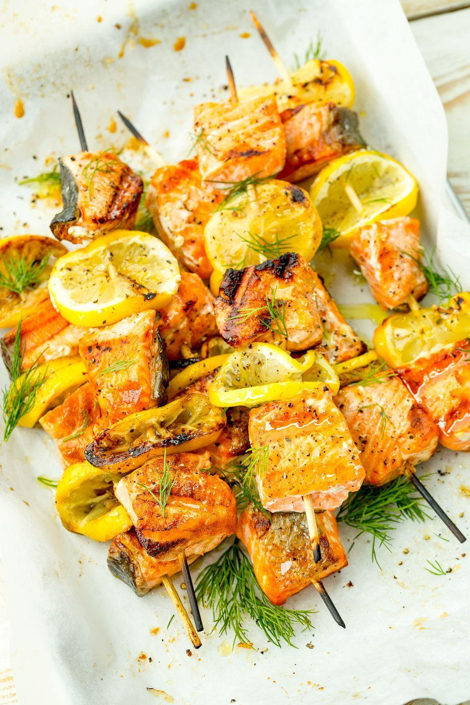 "<p>Lemony salmon kebabs are about to be your go-to for grilling season.</p><p>Get the recipe from <a href=""https://www.delish.com/cooking/recipe-ideas/recipes/a47375/mediterranean-salmon-skewers-recipe/"" rel=""nofollow noopener"" target=""_blank"" data-ylk=""slk:Delish"" class=""link rapid-noclick-resp"">Delish</a>.</p>"