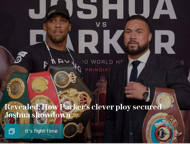 Anthony Joshua at lightest weight since 2014 for Joseph Parker fight