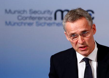 NATO Secretary-General Stoltenberg delivers his speech during the 53rd Munich Security Conference in Munich