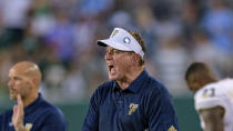 FILE - In this Aug. 29, 2019, file photo, Florida International head coach Butch Davis yells at his players during an NCAA football game against Tulane in New Orleans. Florida International (1-1) faces Texas Tech on Saturday night in the final non-conference game for the Red Raiders. (AP Photo/Matthew Hinton, File)