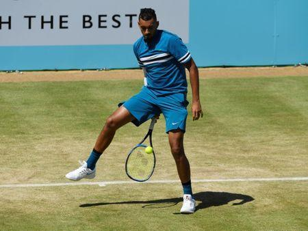 Tennis - ATP 500 - Fever-Tree Championships - The Queen's Club, London, Britain - June 22, 2018 Australia's Nick Kyrgios in action during his quarter final match against Spain's Feliciano Lopez Action Images via Reuters/Tony O'Brien