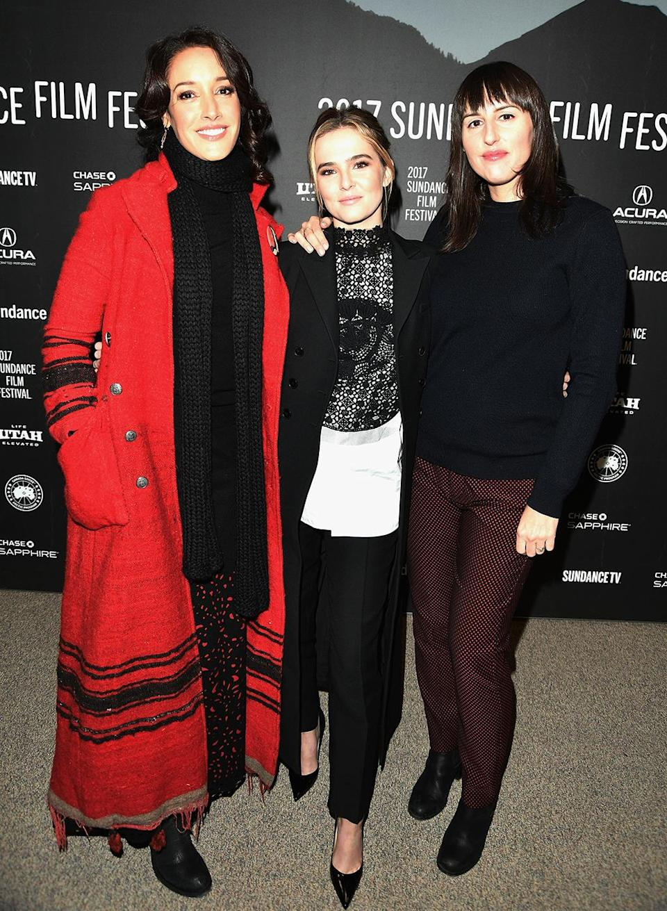 <p>The actresses pose with director Russo-Young at the 'Before I Fall' premiere on Jan. 21. (Photo: George Pimentel/Getty Images) </p>