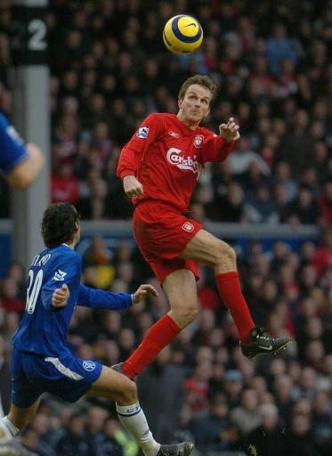 Liverpool's Dietmar Hamann heads the ball during their Premiership football match against Chelsea at Anfield in Liverpool, 01 January 2005. AFP photo by Paul BarkerLiverpool's Dietmar Hamann heads the ball during their Premiership football match against Chelsea at Anfield in Liverpool, 01 January 2005. AFP photo by Paul Barker