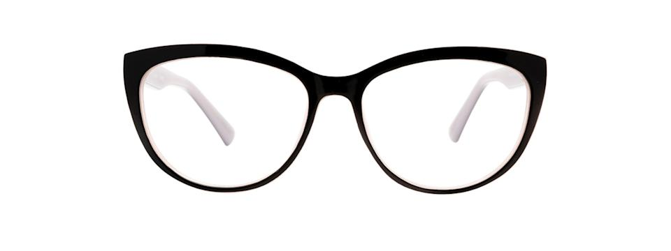 Clearly Basics Tickles-55 - black rounded cat-eye glasses