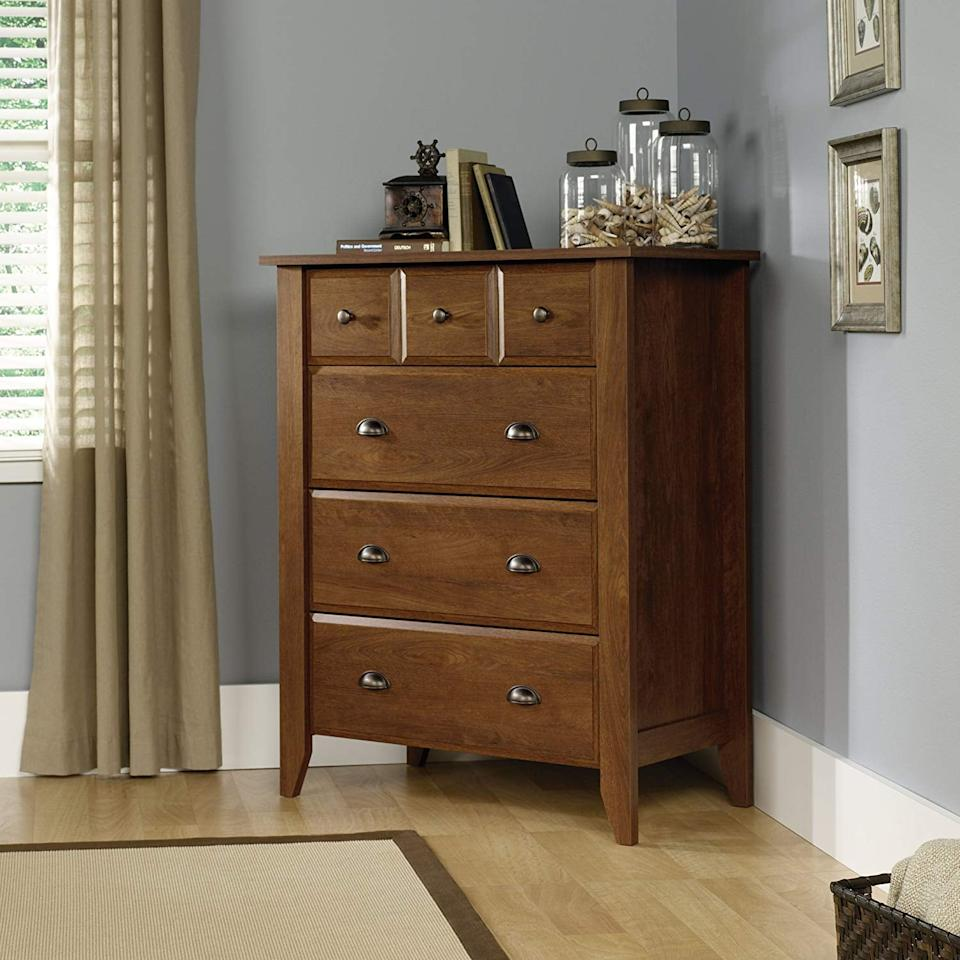"<p>Put this <a href=""https://www.popsugar.com/buy/Sauder-Shoal-Creek-4-Drawer-Chest-500944?p_name=Sauder%20Shoal%20Creek%204-Drawer%20Chest&retailer=amazon.com&pid=500944&price=196&evar1=casa%3Aus&evar9=46855120&evar98=https%3A%2F%2Fwww.popsugar.com%2Fphoto-gallery%2F46855120%2Fimage%2F46855139%2FSauder-Shoal-Creek-4-Drawer-Chest&list1=shopping%2Camazon%2Cfurniture%2Cdressers&prop13=api&pdata=1"" rel=""nofollow"" data-shoppable-link=""1"" target=""_blank"" class=""ga-track"" data-ga-category=""Related"" data-ga-label=""https://www.amazon.com/dp/B006R9YQ0I/ref=sbl_dpx_B00DUVL63G_0?th=1"" data-ga-action=""In-Line Links"">Sauder Shoal Creek 4-Drawer Chest</a> ($196) in your closet.</p>"