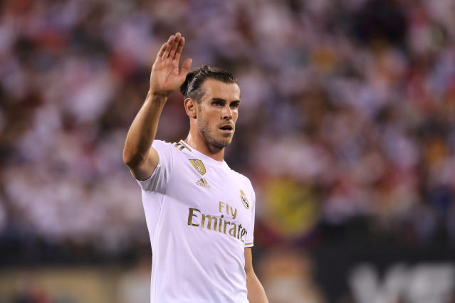 Gareth Bale played for Real Madrid in Friday's International Champions Cup match against Atletico Madrid in New Jersey, but he could soon be waving goodbye to Spain. (Matthew Ashton/Getty)