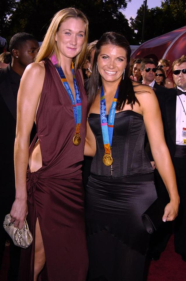 Kerri Walsh and Misty May during The 56th Annual Primetime Emmy Awards - Arrivals at The Shrine Auditorium in Los Angeles, California.