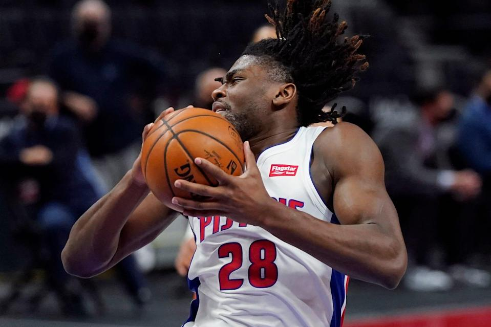 Pistons center Isaiah Stewart grabs a rebound during the first half on Friday, April 16, 2021, at Little Caesars Arena.