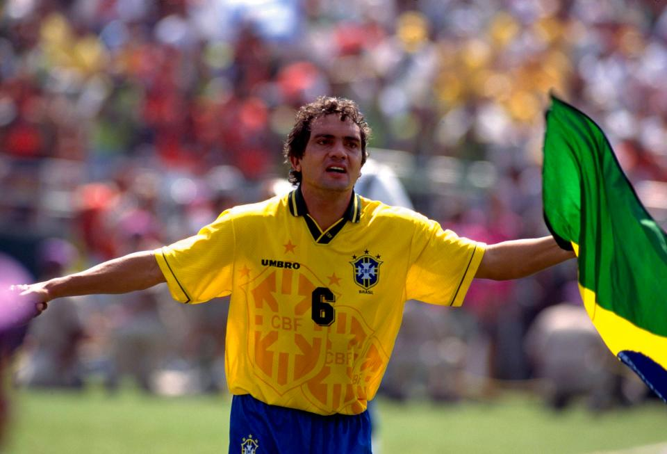 17/7/1994 Football World Cup 1994, The Final, Brazil v Italy, Branco celebrates the World Cup victory. (Photo by Mark Leech/Getty Images)