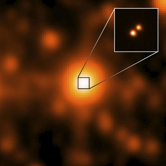 WISE J104915.57-531906 is at the center of the larger image, which was taken by the NASA's Wide-field Infrared Survey Explorer (WISE). This is the closest star system discovered since 1916, and the third closest to our sun. It is 6.5 light-year
