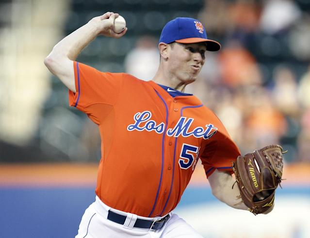 New York Mets' Jeremy Hefner delivers a pitch during the first inning of a baseball game against the Atlanta Braves, Wednesday, July 24, 2013, in New York. (AP Photo/Frank Franklin II)