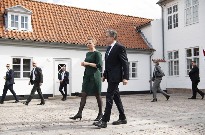 Danish Prime Minister Mette Frederiksen walks with US Secretary of State Antony Blinken as he leaves following meetings at Marienborg, the official residence of the Prime Minister, in Copenhagen, Denmark, May 17, 2021. U.S. Secretary of State Antony Blinken is in Denmark for talks on climate change, Arctic policy and Russia as calls grow for the Biden administration to take a tougher and more active stance on spiraling Israeli-Palestinian violence. (Saul Loeb/Pool photo via AP)