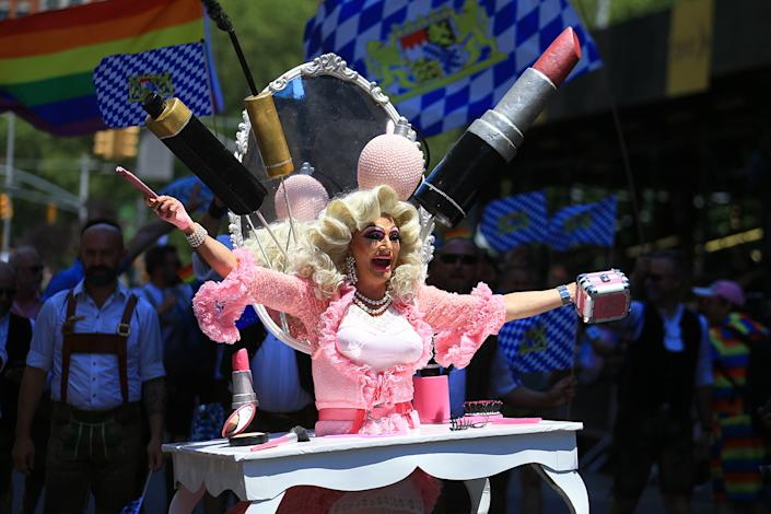 A performer in drag entertains crowds during the N.Y.C. Pride Parade in New York on June 30, 2019. (Photo: Gordon Donovan/Yahoo News)