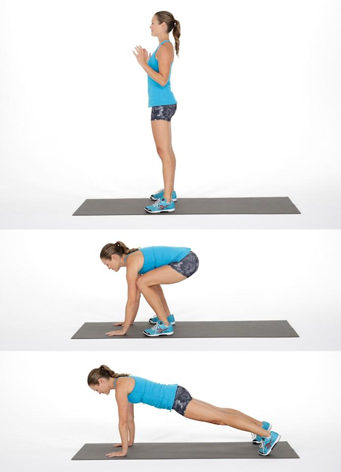 <ul> <li>Begin standing with the feet hip-distance apart.</li> <li>Lower into a crouching squat with your hands on the floor.</li> <li>Keeping the abs engaged, jump your feet back so you're in plank position. </li> <li>Keeping the arms straight, jump your feet forward behind the hands.</li> <li>Stand up to complete one rep.</li> <li>Do 40 seconds of squats thrusts followed by a 20-second rest.</li> </ul>