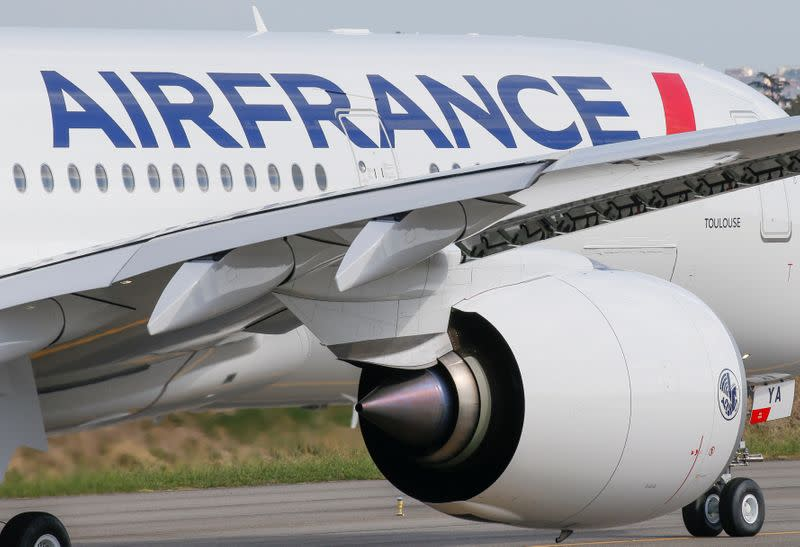 FILE PHOTO: The first Air France airliner's Airbus A350 prepares to take off after a ceremony at the aircraft builder's headquarters in Colomiers near Toulouse