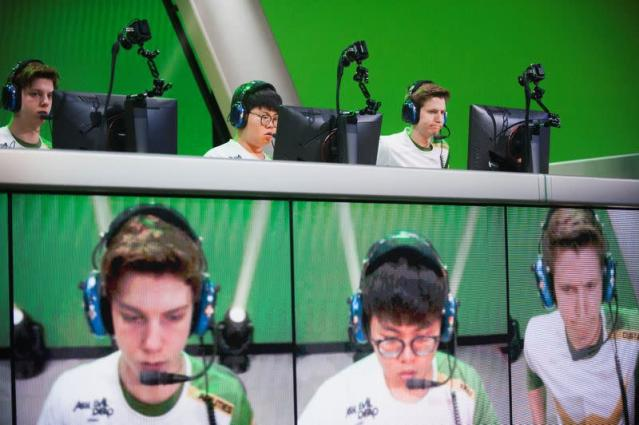 Members of the Los Angeles Valiant team play during the final day of Stage 3 title matches of the Overwatch League at the Blizzard Arena in Burbank