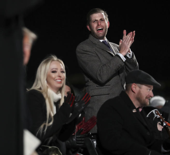 Eric Trump and Tiffany Trump welcome their father, President Trump, and first lady Melania Trump to the National Christmas Tree lighting ceremony in Washington on Wednesday. (Photo: Pool-Oliver Contreras/Getty Images)