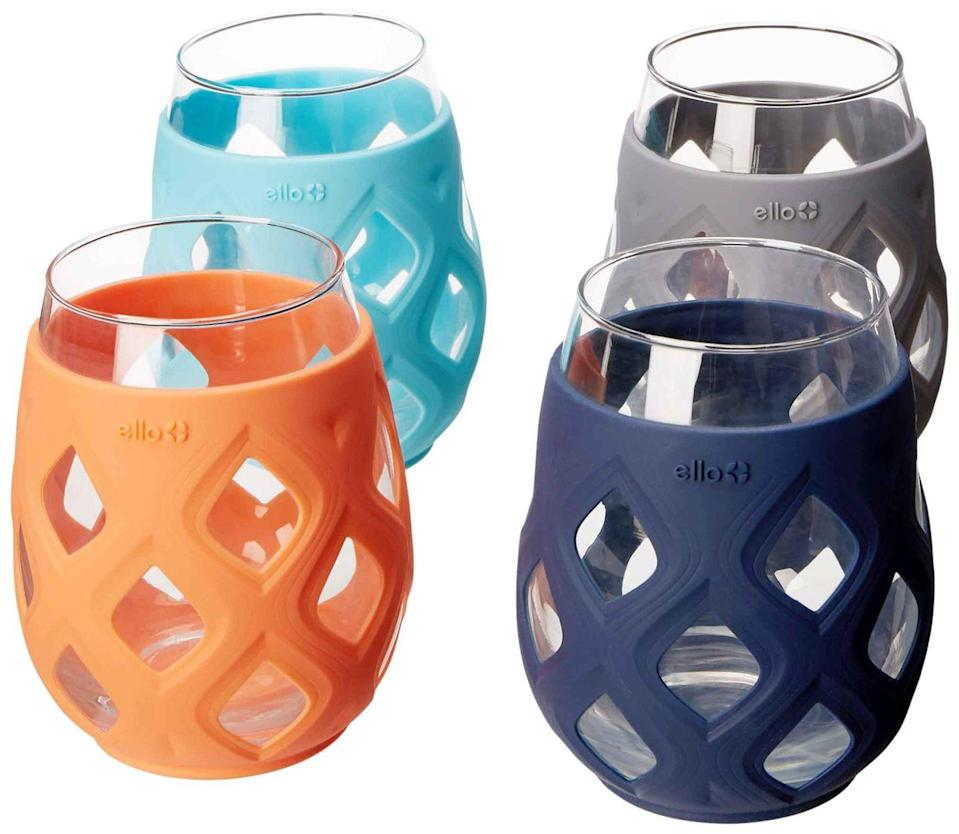 """<p><a class=""""link rapid-noclick-resp"""" href=""""https://www.amazon.com/Ello-Stemless-Silicone-Sleeves-Paloma/dp/B079Y7Y3QX/ref=sr_1_1?tag=syn-yahoo-20&ascsubtag=%5Bartid%7C10050.g.32462744%5Bsrc%7Cyahoo-us"""" rel=""""nofollow noopener"""" target=""""_blank"""" data-ylk=""""slk:SHOP NOW"""">SHOP NOW</a></p><p>If you want the heft—but not the shatter potential—of a real glass, get a hold of these silicone-sleeved 17-ouncers. They're dishwasher-safe, and, no, you don't have to remove the sleeve, because who has time for that?! </p>"""